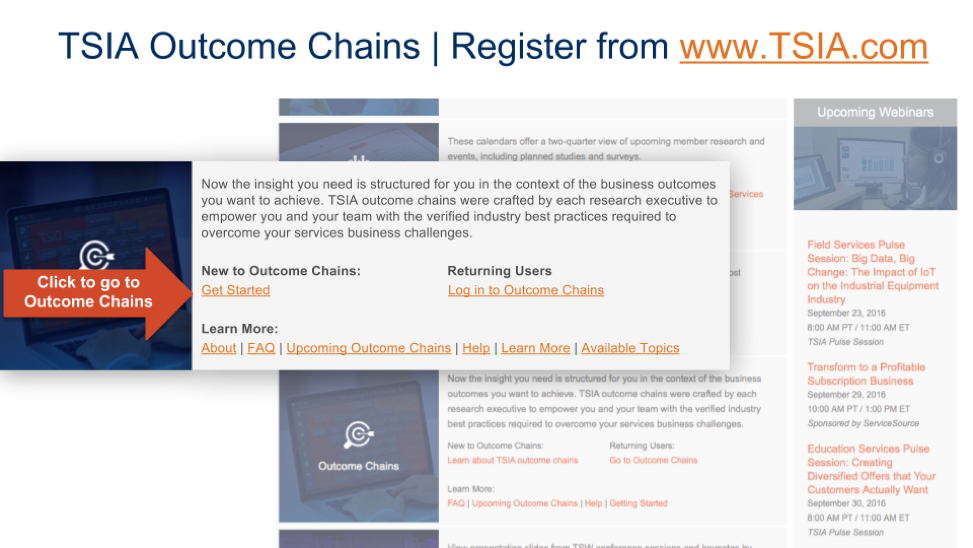 how to register for tsia outcome chains