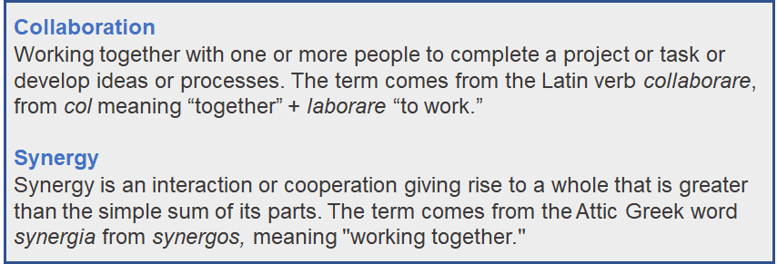 collaboration and synergy definitions